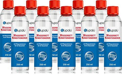 blupalu | Wasserbett Conditioner I 10 x 250 ml Conditionierer | jetzt mit 9g/100g Wirkstoff | Konditionierer für Wasserbetten I Wasserbett-Zubehör mit Bubble Stop