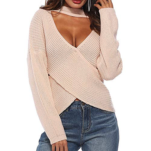 Lazzboy Womens Sweater Tops Knitted Long Sleeve Halter V Neck Ribbed Crisscross Cut-Down Solid Sexy Jumper Pullover