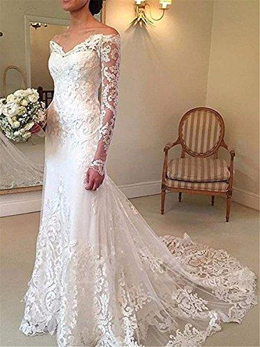 Annxrose Damen Lange Ärmel Off-The-Schulter Tüll Spitze Appliques Meerjungfrau Brautkleid Hochzeitskleid Elfenbein 32 - 4