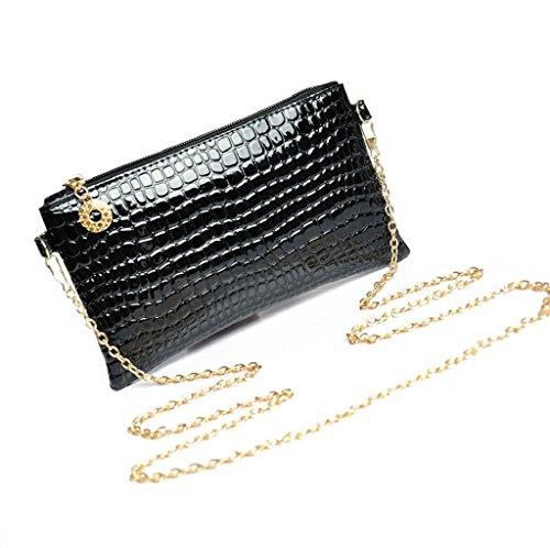 Borsa Familizo Elegant Donne rivestono di pelle Messenger Crossbody spalla della frizione della borsa (Nero)