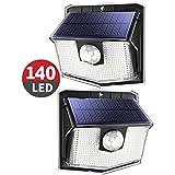 Mpow Luz Solar Exterior 140LED,IP 67 Impermeable Lámpara Solar de 3-8M Detección, 270º Gran Angular de Iluminación con 120° Sensor de Movimiento