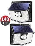 Luci Solari LED Esterno, 140 LED Luce Solare Sensore con Movimento Esterna 3 Modalità di Illuminazione, [Impermeabile IPX7 2 Pezzi], 270ºilluminare Lampada Solare per Giardino