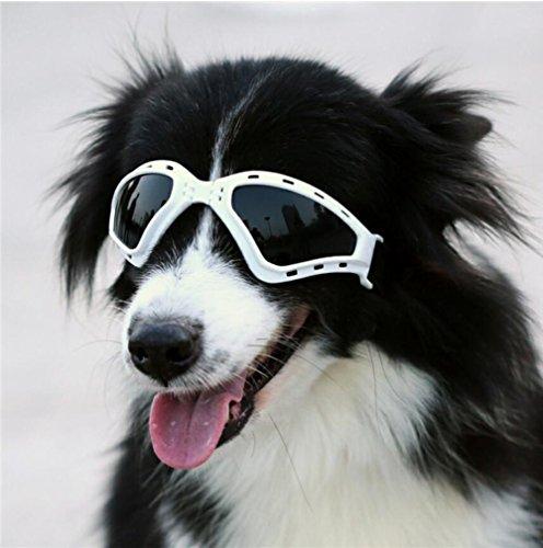Cutepet Sonnenschutz Brillen Hund Brille V-Sonnenbrille UV-Schutz Fashion Eyewear Goggles Für Groß Hunde Haustier GH-07482,White