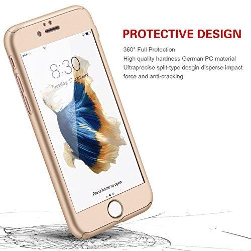 iPhone 5/5s/SE 360 Degres + Protection en Verre Trempé, [ 360 ° ] Coque de protection avant et arrière cases iPhone 5/5s/SE Integrale pour iPhone 5/5s/SE - Noir Or