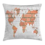 tgyew Rustic Home Decor Throw Pillow Cushion Cover by, World Atlas Map on Grunge Style Red Brick Wall Continent Abstract Art, Decorative Square Accent Pillow Case, 18 X 18 Inches, White Tile Red