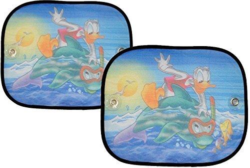 2 tlg. Set Sonnenschutz Donald Duck Seitenscheibe Sonnenblende für Kinder Auto Ente Mickey Mouse