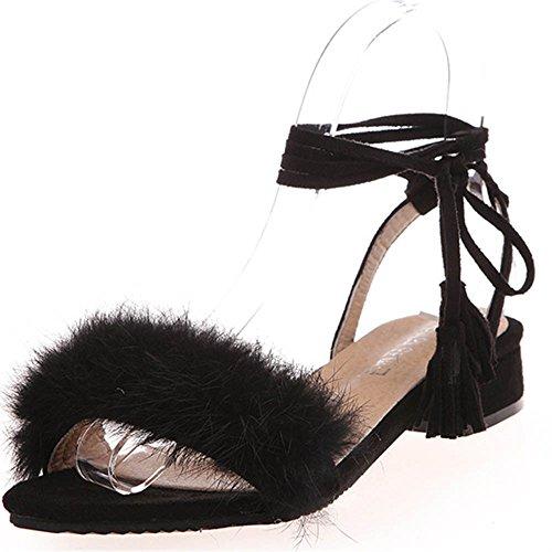 TIFIY Frauen Neue Sommer Sandelholz Troddel Verband beiläufige Plüsch Lace-Up flache Schuhe (36, Schwarz) (Flachen Damen Neue Sandalen Leder)