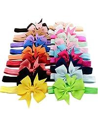 iEFiEL 20 Piezas Cintas Elásticas de Cabeza para Bebés y Niñas Tocado de Pelo de Flores 20 Colores Deferentes