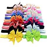 YiZYiF 20pcs Babys Girls Grosgrain Ribbon Elastic Headband Hairband Photography Headdress (One Size, Multi-Color)