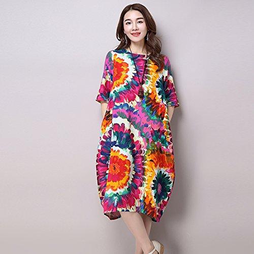 XIU*RONG Frühling Und Sommer Weiblich Geblümten Kleid Sommerkleid Lockerer Baumwolle Bettwäsche Xl Rot