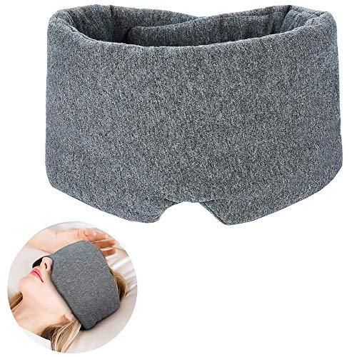 Schlafmaske - Beste bequeme Baumwoll-Schlafaugenmaske, Handgefertigte, verstellbare, bequeme und atmungsaktive Augenmaske mit effektiver Licht- und Geräuschreduzierungsmaske mit Ohrstöpsel