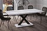 Esstisch Mila ausziehbar 130cm - 180cm Beton Küchentisch Design bi colour Säulentisch