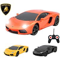 Price comparsion for Lamborghini Remote Control Car with Working Lights - Lamborghini Aventador Fast Indoor Electric Radio Controlled RC Car - PL608 Official Licensed 1:24 Lamborghini Model - RTR, EP (Colour May Vary)