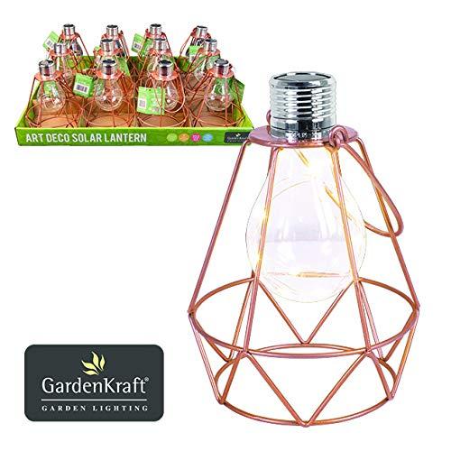 Benross Art Deco - Lámpara Solar con Marco de Metal y luz LED, Color Cobre