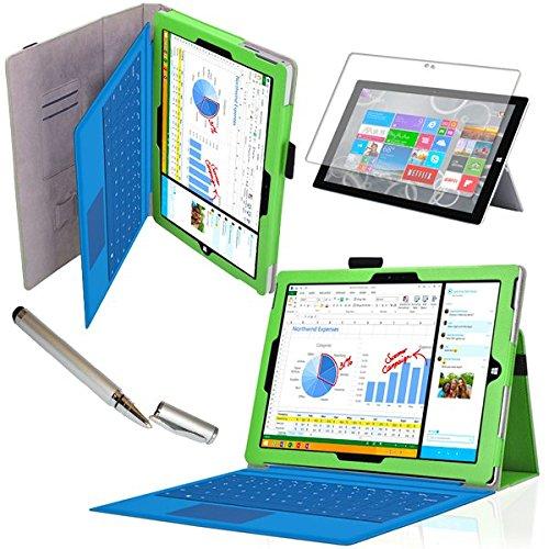 Tasche für Microsoft Surface Pro 3 mit praktischer Stand Funktion aus robustem Kunstleder und zusätzlicher Display-Schutz-Folie kombiniert Schutz und Design für Ihr Microsoft Surface Pro 3 Hülle Cover Pen Case Grün von UC Express®