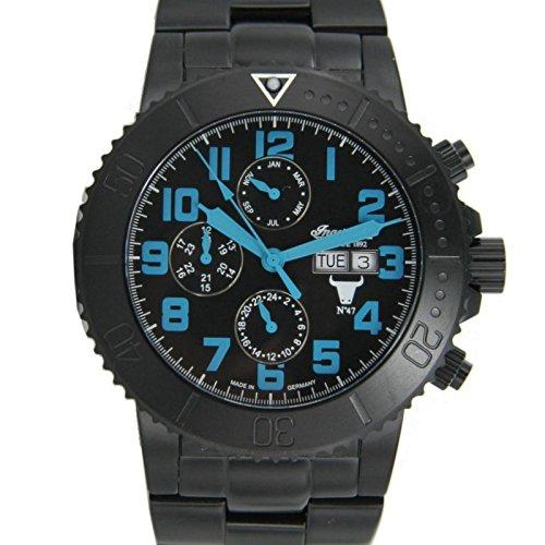 Ingersoll Herren-Armbanduhr XL Chronograph Automatik Edelstahl beschichtet IN1304BKBL