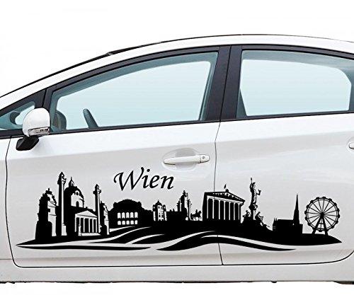 Autoaufkleber Wien Skyline Car Sticker Auto Österreich Aufkleber Stadt 1M748, Farbe:Schwarz Matt;Motiv Länge:180cm