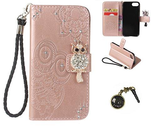 Preisvergleich Produktbild iphone7 (4.7 Zoll) Wallet Case für Apple iPhone 7 Flip Hülle Laoke Eule Blumen Muster Handyhülle Schutzhülle PU Leder Case Skin Brieftasche Ledertasche Tasche im Bookstyle in +Staubstecker (5)