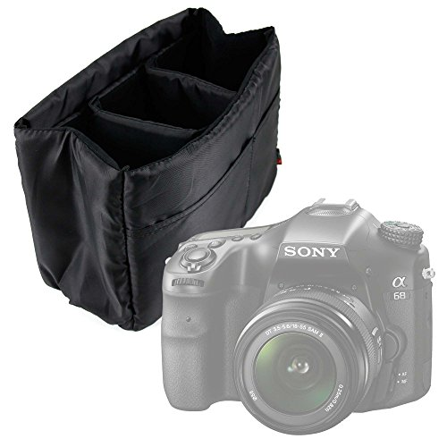 DURAGADGET Porta Oggetti/Organizzatore Imbottito Nero Per Fotocamera Sony Alpha 68 | Kodak PIXPRO AZ365 - Con Divisori Rimovibili - Ideale Per I Viaggi