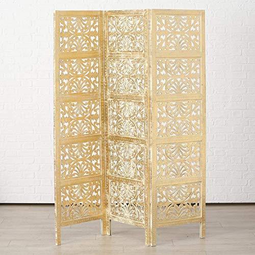 Immo Paravent Platory Spanische Wand Mangoholz 180x150 cm Gold 3-Teilig