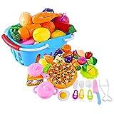 Forweilai Spielzeug Lebensmittel Kinder - 32 Stück Spielküche Zubehör - Korb mit Schneide Gemüse und Obst - Plastik Lebensmittel Kinder-Rollenspiele - (Blau)