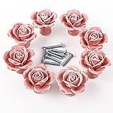 MoonLi 8Pcs rosa Keramik stieg Blume Knöpfe Schublade zu Hause Dekoration und DIY Hardware Griff,Rose Porzellan Möbelknopf Möbelknöpfe Möbelgriffe Möbelknauf Griff Knopf Schrankgriff Dekoraktion Rosa