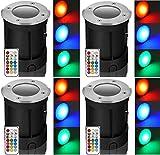 4xLed RGB+kaltweiß Bodeneinbaustrahler befahrbar, Led mit Timer Funktion und Fernbedienung mit Edelstahl Abdeckung Spot GU10 230Volt mit auswechselbarer farbwechsel RGB+kw mit Infrarot Fernbedienung