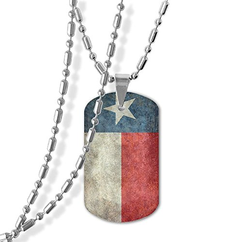 MAMA LAZCNYQL Men's Texas State Flag Vintage Retro Necklace Pendant Jewelry Army Card Dog Tag Great Gift (State Flag Dog Tag)