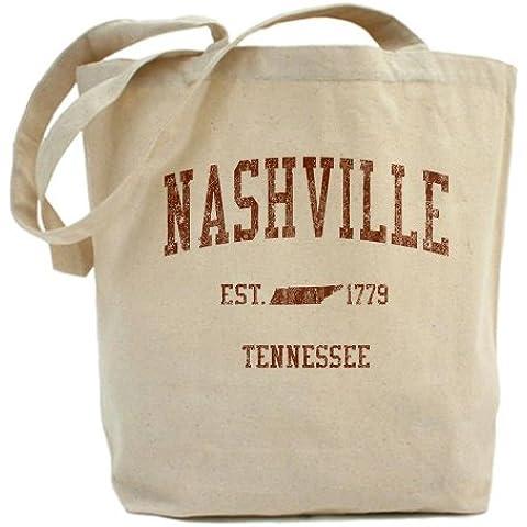 CafePress–Nashville Tennessee TN Rosso Tote Bag–Borsa di tela naturale, panno borsa per la spesa