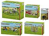 Farm World - Großes Bauernhof Set, Kuhfamilie auf der Weide, Hühnerstall, Fütterung und Pflege der Bauernhoftiere, Heuraufe & Futter für Hunde und Katzen
