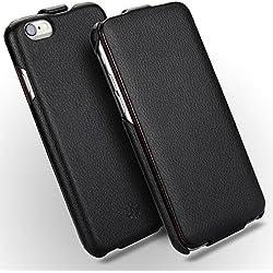 NOVADA Coque iPhone 6 6S, Housse Étui à clapet en cuir véritable pour iPhone 6 6S - Collection Duke - Noir