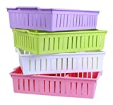 #2: Kretix Multi-Segment Hollow Bin Basket Storage Box Tray Organizer Container Kitchen Bathroom Office Assorted colors Set of 3