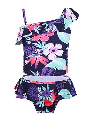 YiZYiF Mädchen Tankini Bikini Badeanzug Blumen Muster Top mit Slip Badeshorts Badekleidung Set Gr. 86-92 98-104 110-116 122-128 134-140 (98-104/3-4 Jahre, Violett)