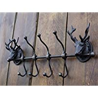 Bowley & Jackson Stags head cast metal row wall mounted coat hooks