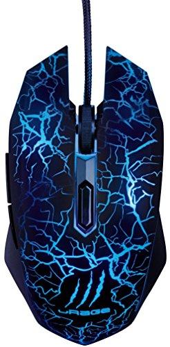 uRage Gaming Maus Illuminated² 3000 dpi (6 programmierbare Tasten, 2m Kabel, USB, 1000 Hz, 4 Farben LED Beleuchtung, zeigt aktuellen DPI-Wert an, ergonomisch) Optische Gamer Maus schwarz/blau