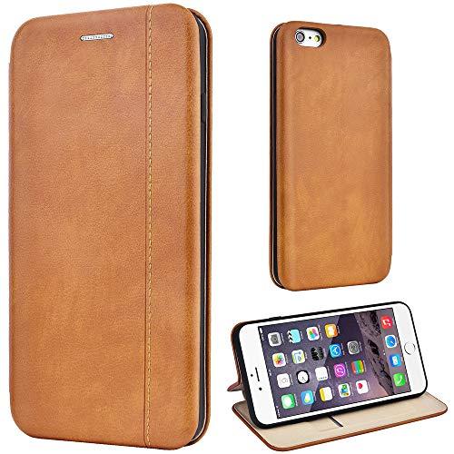 Leaum Leder Handyhülle für iPhone 6 Plus / 6S Plus Hülle, Premium Handytasche Flip Schutzhülle für Apple iPhone 6 Plus / 6S Plus Tasche (Braun) (Iphone 6 Plus Tasche)