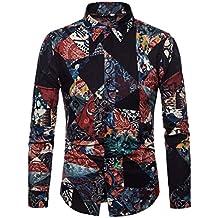 MaoKiKi Men Printing Cotton Linen Buttons Collar Long Sleeve Shirt Tee Blouse
