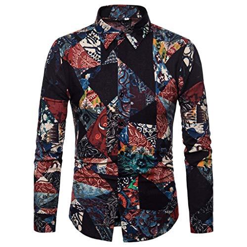 Moserian Herren Shirt Druck Baumwolle Leinen Knöpfe Kragen Langarm Shirt T-Shirt Bluse