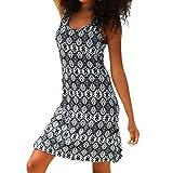 MERICAL Frauen Boho Print Neckholder Sleeveless beiläufige Mini Beachwear Sommer kleiderGrauX-Large (Grau,X-Large)