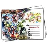 Invitations 20 x Avengers Kids Birthday Party Invites Cards Quality Girls Boys