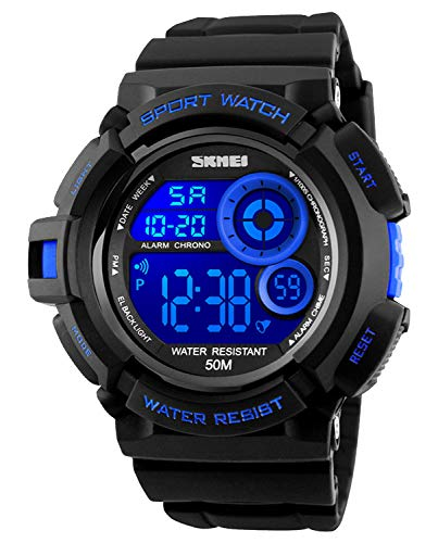 Face Digital Simple Blue Large Alarm Stopwatch Sports Army Casual Led Watch And Waterproof Watches Military Screen Men's Luminous OwmN0y8nPv