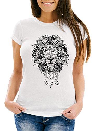 Neverless Damen T-Shirt Löwe Lion Ethno Atzekenmuster Boho Atzec Federn Traumfänger Dreamcatcher Weiß S (Lion T-shirt Print)
