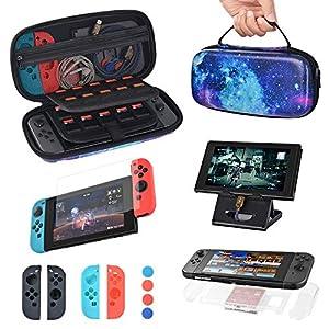 Sunix 10 in 1 Zubehör für Nintendo Switch, Tragetasche für Nintendo Switch Konsole & Zubehör, Displayschutzfolien, Ständer, Joy-Con Silikonhülle