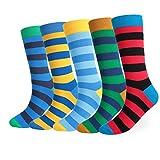 FULIER Herren 5 Paar Bunt Gemusterte Baumwoll Rich Kleid Socken