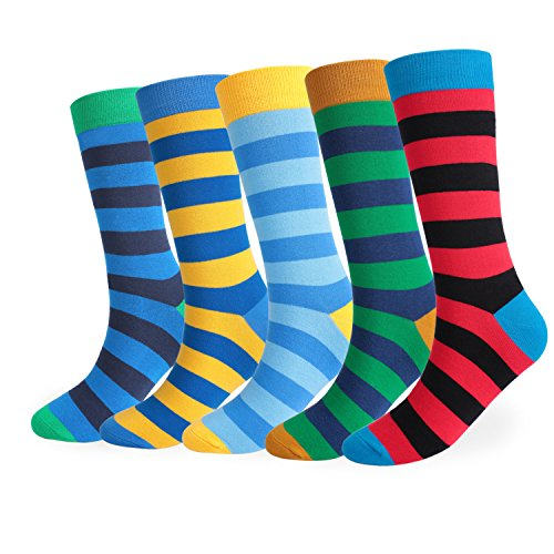 FULIER Herren 5 Paar Bunt Gemusterte Baumwoll Rich Kleid Socken (Socken Kleid Komfort)