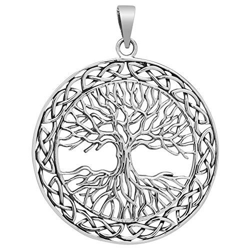 Grosser Baum des Lebens Anhänger 925 Silber Weltenbaum Lebensbaum 40mm