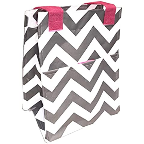 Best Soft Gray Chevron Pink Trim Insulated Lunch Tote Purse by TravelNut Box Unique Top New Popular Essential Birthday Gift Idea for Girls Women Girlfriend Back to School College Supplies by TravelNut