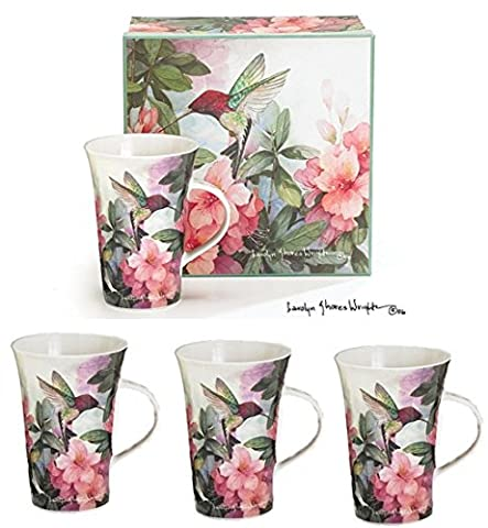 Set Of 4 Hummingbird And Azalea Porcelain Mugs Designed By Artist Carolyn Sho...