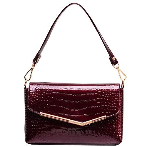 Milya Neue Mode FashionKrokodil-Muster HandtascheHenkeltashce Clutch Kupplung Damen Lackleder Umhängetasche Weinrot