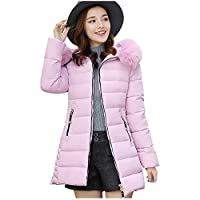Down Winter Coat Long Quilted Jacket Zip Up Padded Parka Hooded Detachable Slim Warm Thicken Winter Outerwear